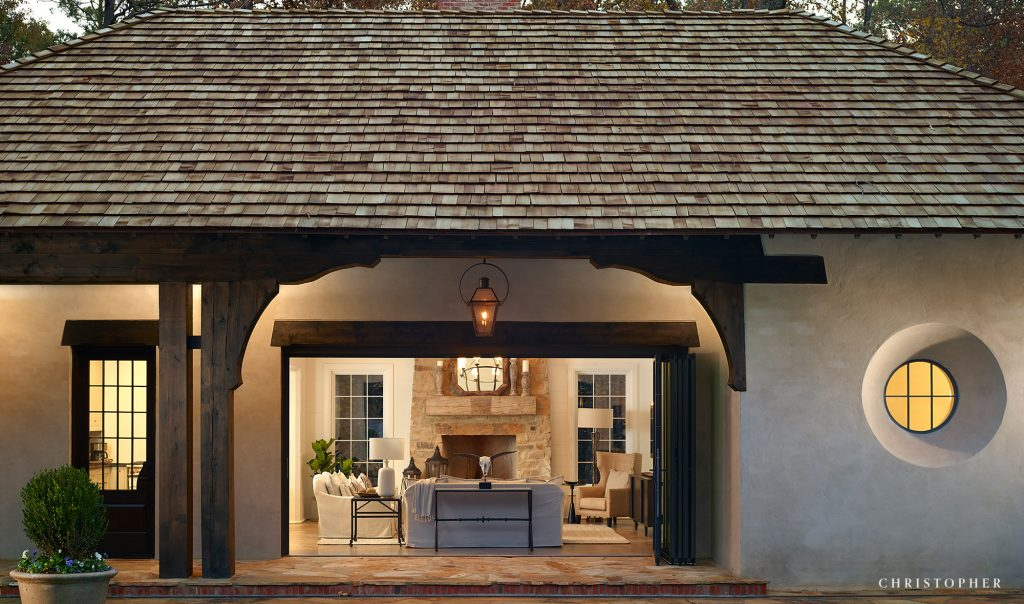 Cabin Pool House Indoor Outdoor Living with Stone Fireplace