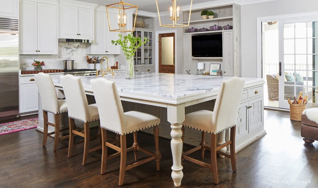 Kitchen Renovation with Custom White Island and Gold Lantern Fixtures