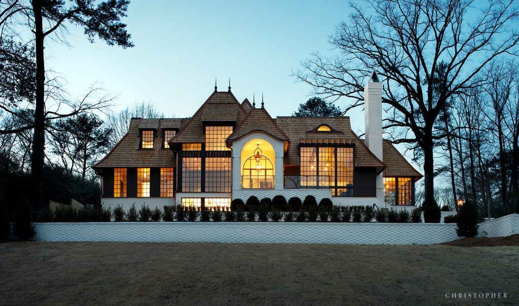 Light Filled Transitional Estate Exterior at Dusk